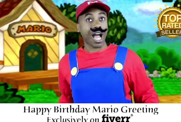 send a happy birthday video greeting as Mario