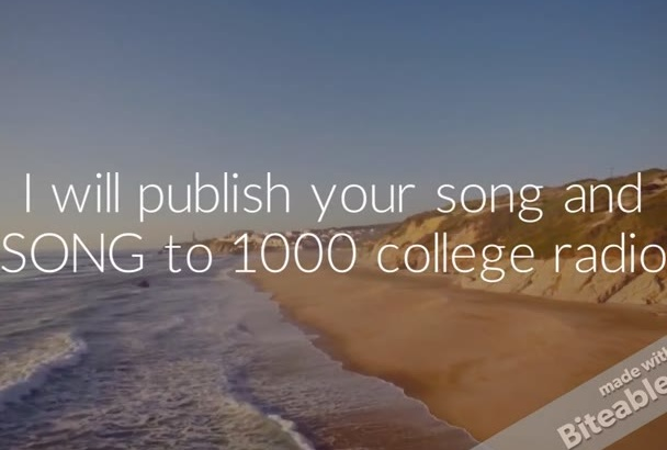 publish your song and send your MUSIC to 1000 college radio