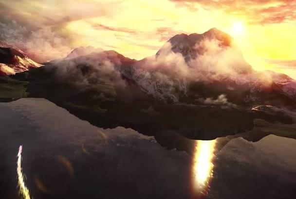 make this naturel sky and mountains logo reveal