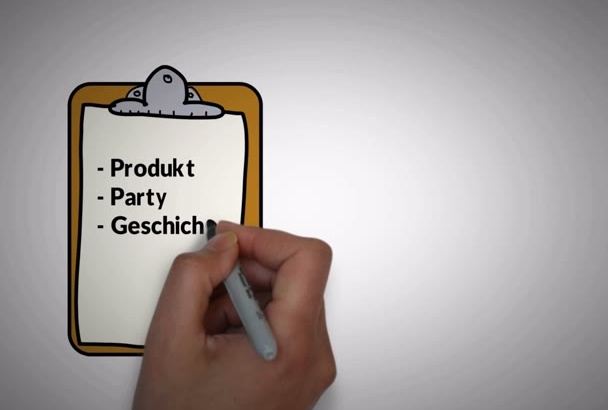 create a professional WhiteboardVideo with german  language