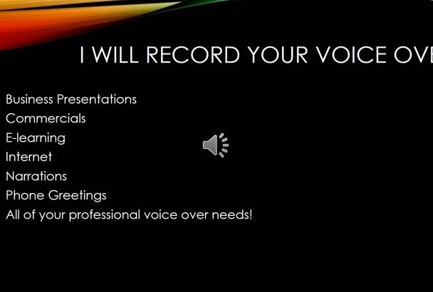 record a Female American Voice Over