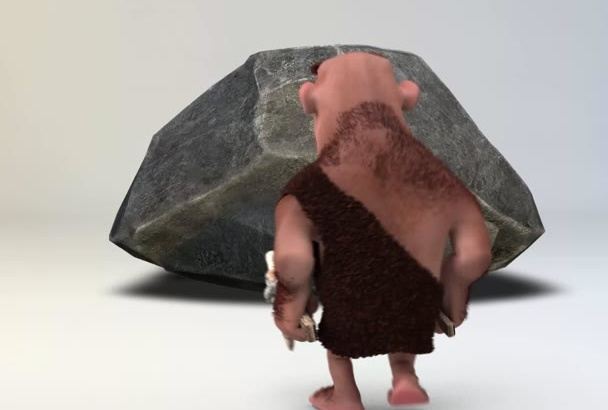 render cavemen in 1080hd for your text and logo intro