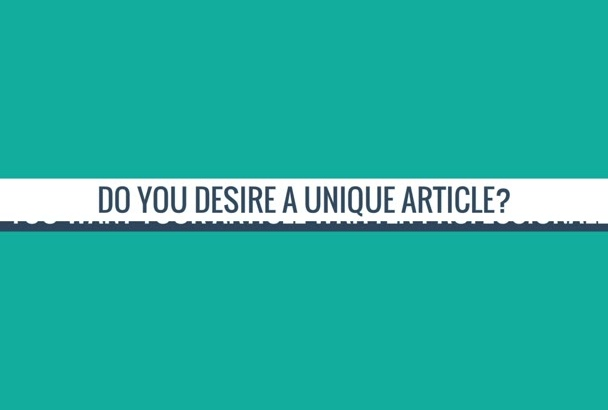 manually write a unique article