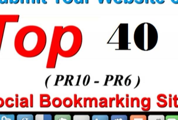 submit 40 Manual Social Bookmark PR6 to PR10