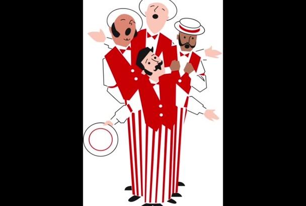 sing Happy Birthday, like a Barbershop Quartet