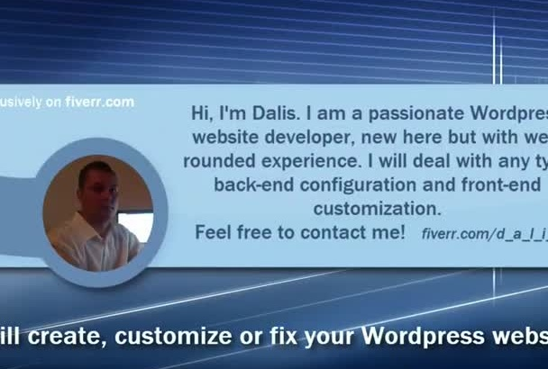 create, customize or fix your Wordpress website