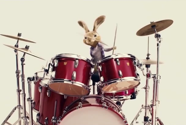 make a Amazing bunny playing drums to promote your LOGO