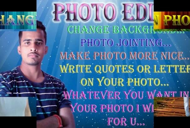 photoshop editing like change background etc