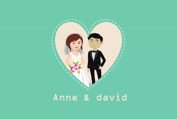 do animated cartoon video for wedding