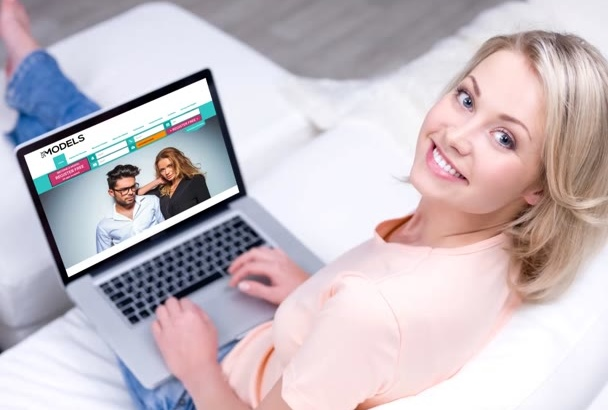 make 8 Beautiful woman holding laptop with your website