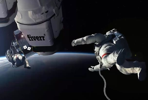 place your logo on Space Station with Sky Walking ASTRONAUTS