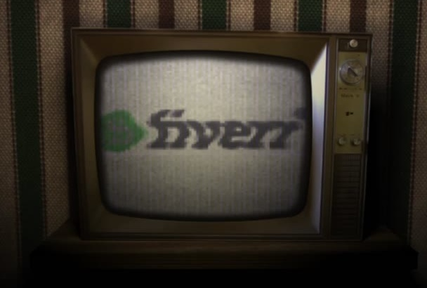 make an animated video with a VINTAGE broken Tv and logo