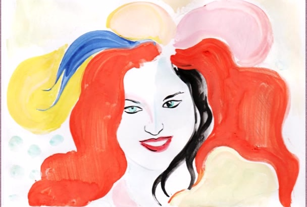 paint a BOHO abstract portrait in my personal style