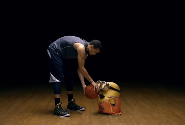 make the minion play basketball and show your logo or text