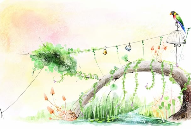 professionally illustrate cartoon landscape or background