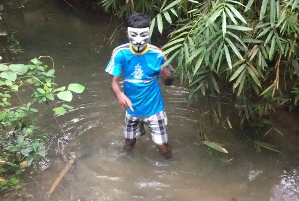 make funny  dance video in natural water stream