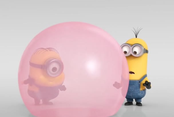 create Funny Minion Reveal Your Logo While Play Bubble Gum