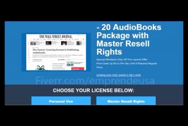 give 20 AudioBooks Package with web store and Resell Rights