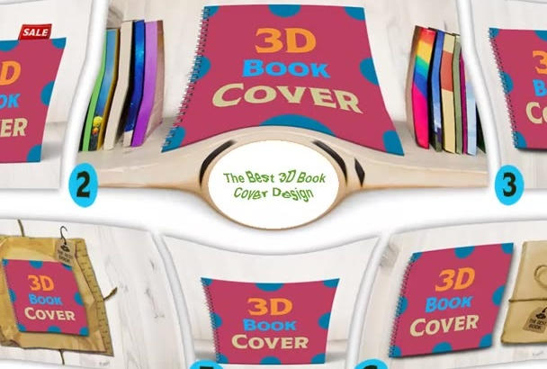 create a Square 3D Book Cover for your Spiral Bound Book in 6 Different S