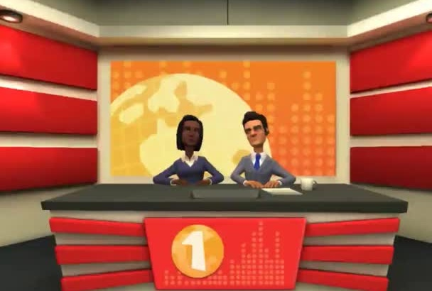 create a professional newsroom animated video