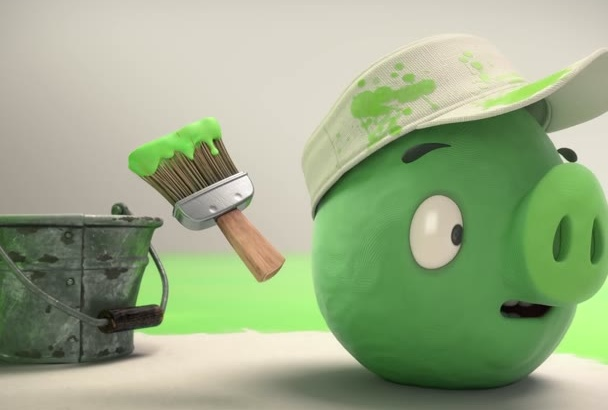 make a promotional video with angry birds piggy