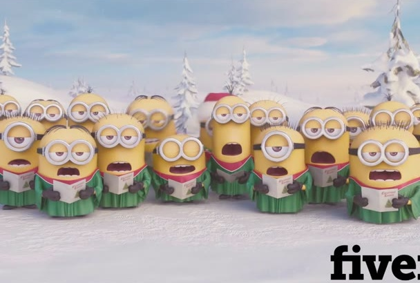 put your logo, text, funny video Christmas Minions