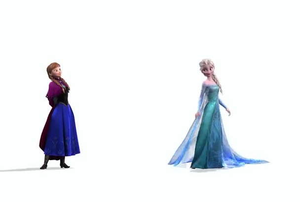 make Anna and Else from Frozen fight for your logo and message