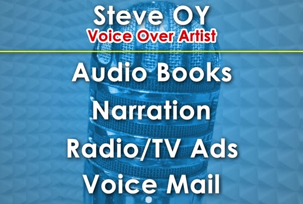 record a professional male voice over and audio books