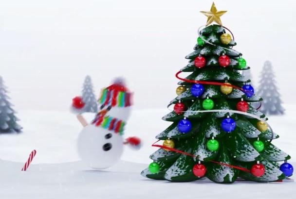 make a snowman Happy Holidays video