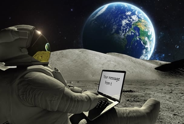 do a video of an astronaut writing your text from the moon
