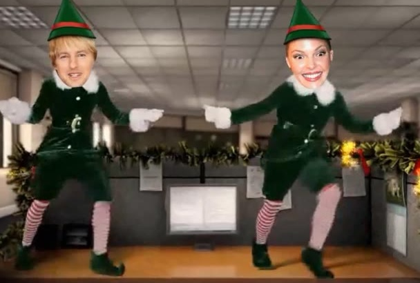 create Christmas video office ecard with your face