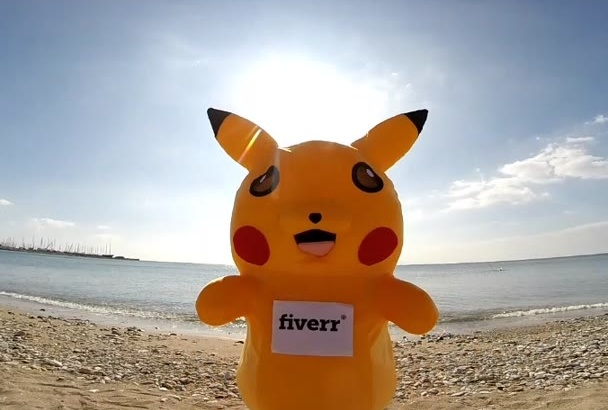 dance in my PIKACHU pokemon costume holding your message