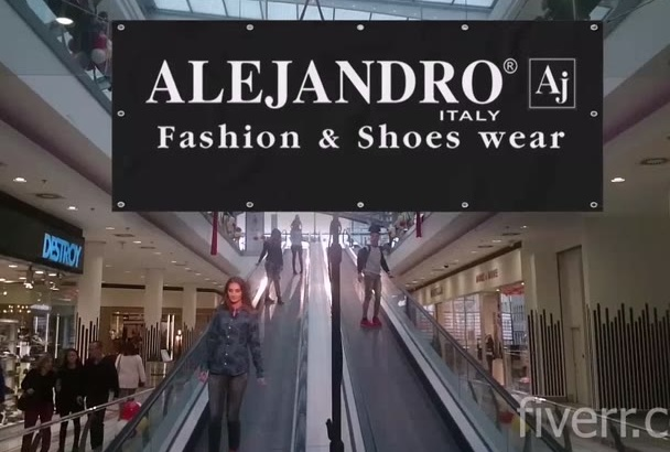 make realistic shopping mall commercial banner