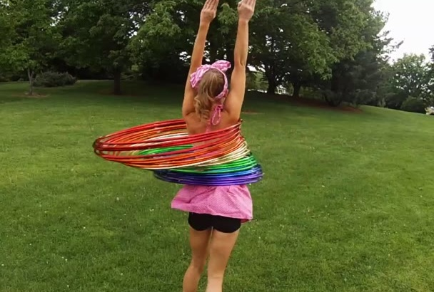 do 30 hula hoops at once and shout your custom message