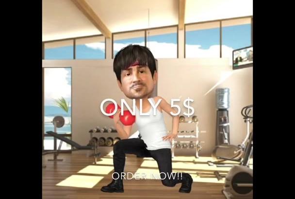 do your face in 3D video cartoon animation style GYM