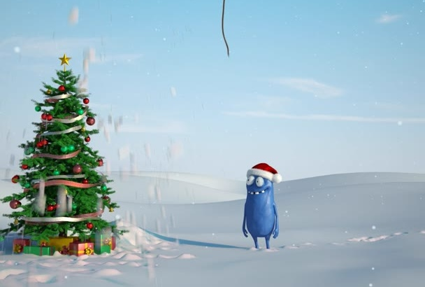 make this cartoon Christmas greeting video