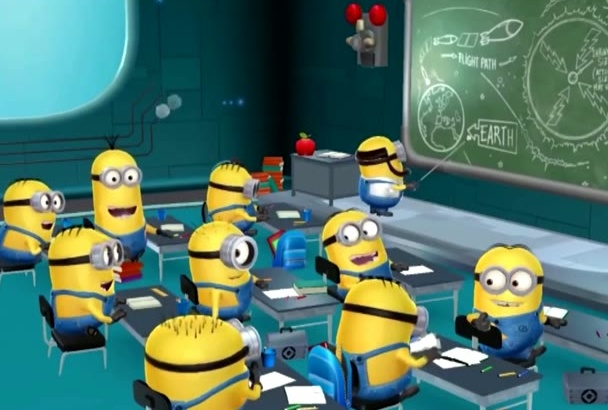put your logo and text in this funny school MINIONS video