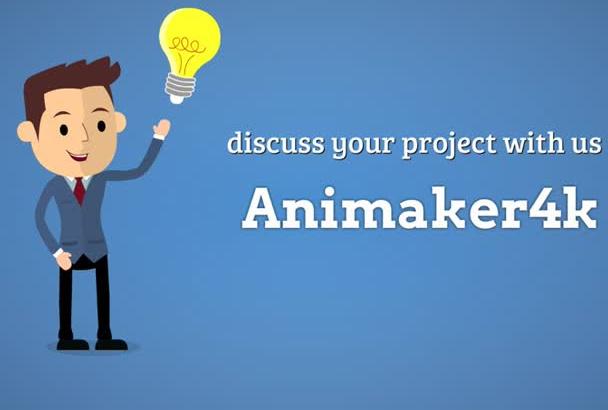 create professional flat cartoon animated video promotion