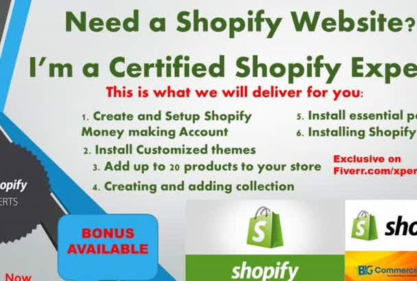 create and design your Ecommerce or   SHOPIFY store