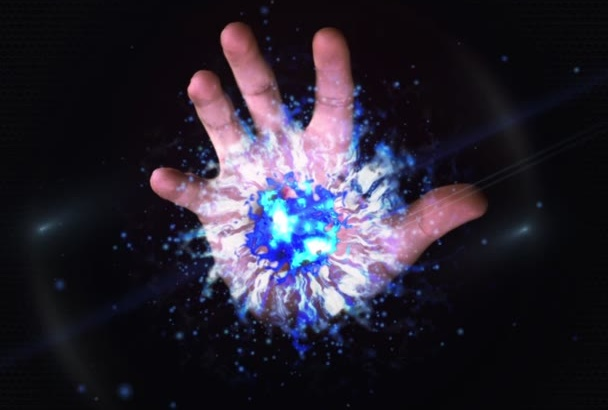 make magic hand intro with you logo company name etc