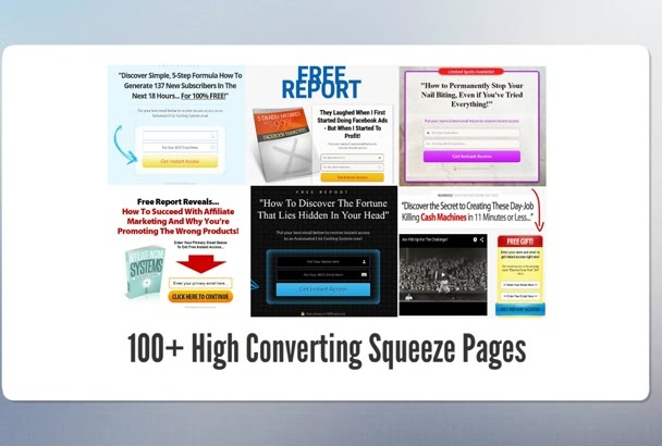 give you 100 editable squeeze page templates PLR