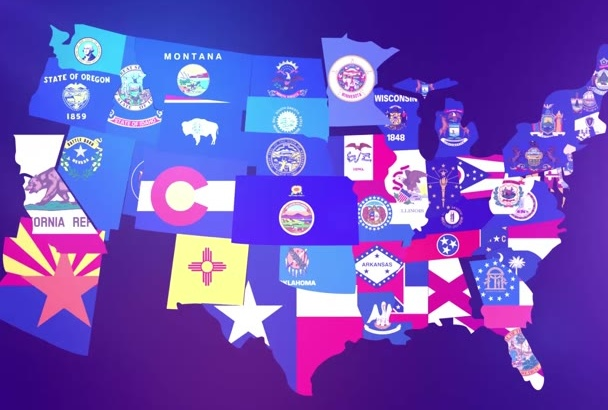 make this USA States Flag Logo intro