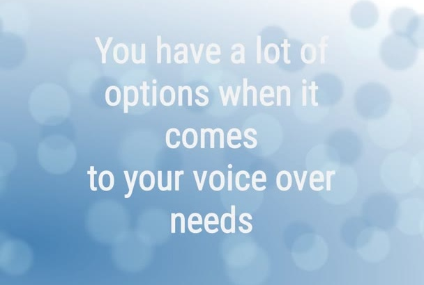produce an exemplary voice over for your project