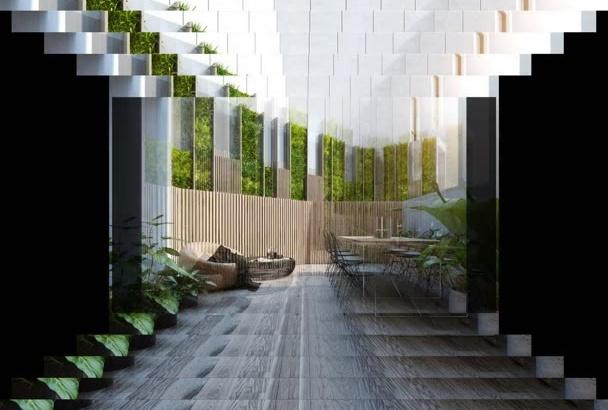 rendering interior, exterior, landscape