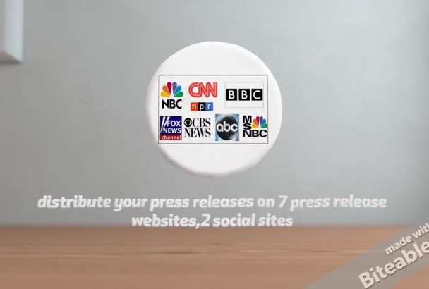 distribute your press releases on 7 press release websites,2 social sites