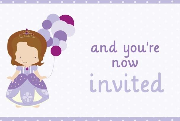 make a Sofia the first birthday video invitation
