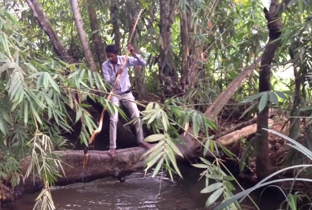 make a funny catching FISH video from Natural water stream