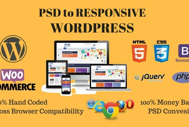 convert Psd to WordPress and Html to WordPress with Woocommerce