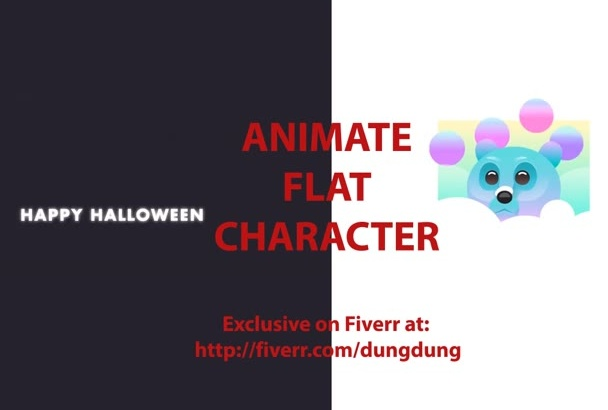 animate flat mascot character intro video