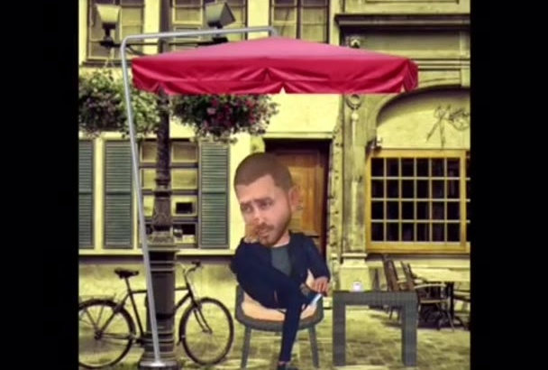do your face in 3D video cartoon animation style COFFEE Shop